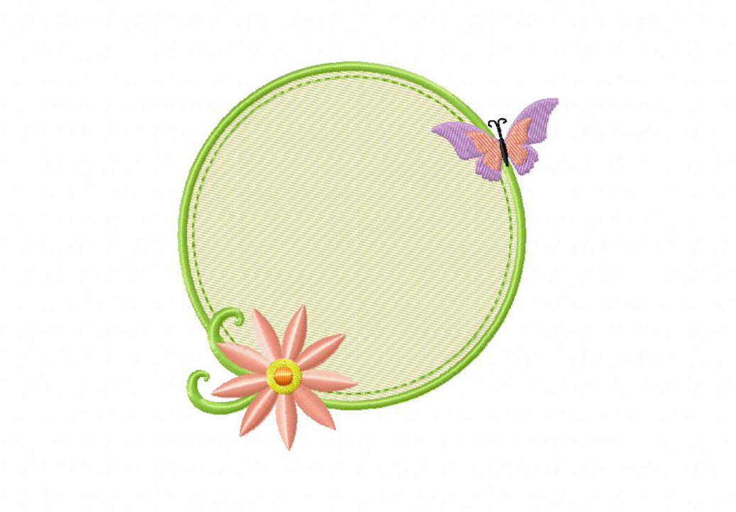 Sweet Circle Frame Machine Embroidery Design  Daily