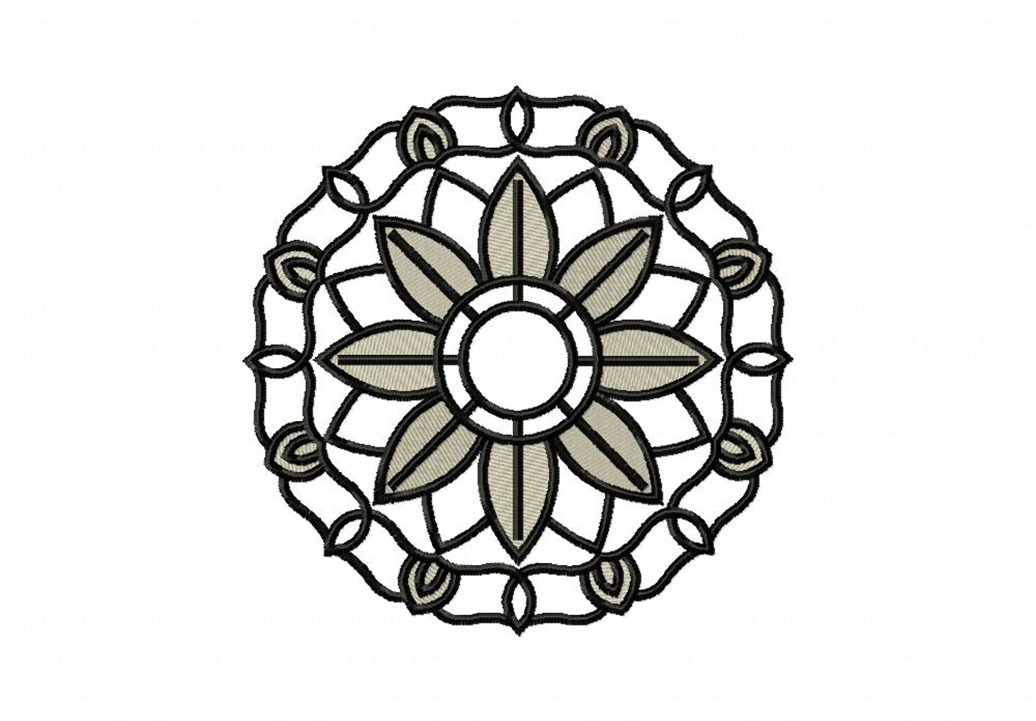 Flower Circle Line Drawing : Line art circle flower machine embroidery design daily