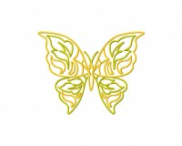 Dainty Yellow Green Butterfly Doodle 4 5_5 in