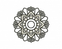 Floral Line Art Circle 5_5 in