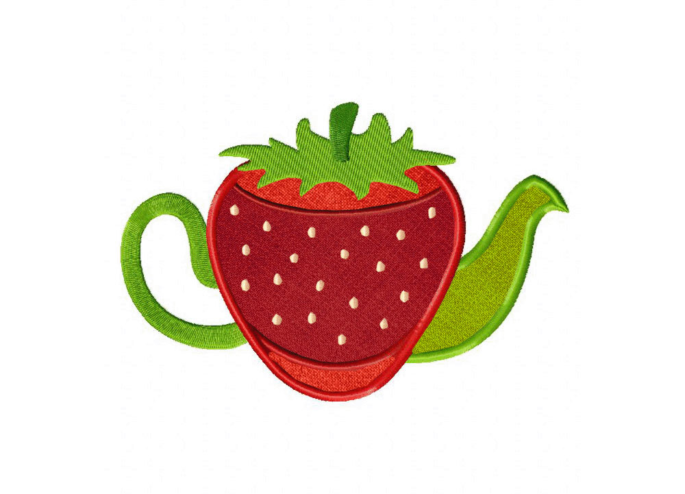 Strawberry Teapot Includes Both Applique And Stitched