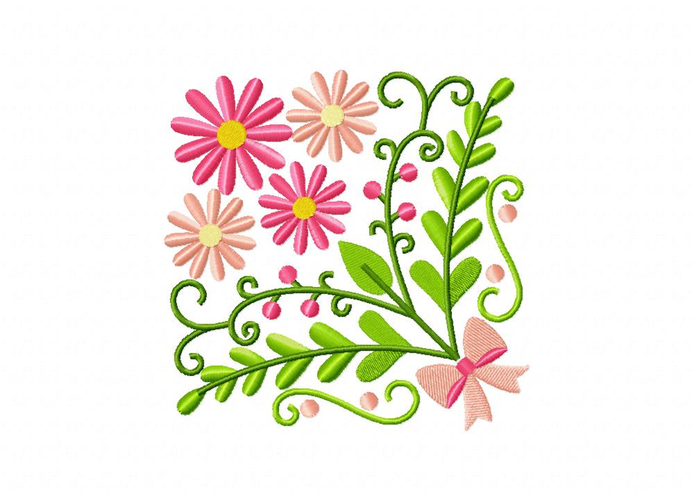 Floral country block bouquet machine embroidery design