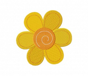 Stitched Yellow Flower 5_5