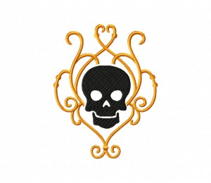 Golden Deco Skull 5_5 inch