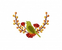 Lush Autumn Bird Wreath 5_5 inch