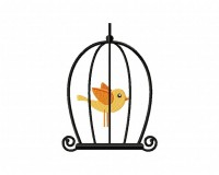 Orange Bird Cage 5_5 in