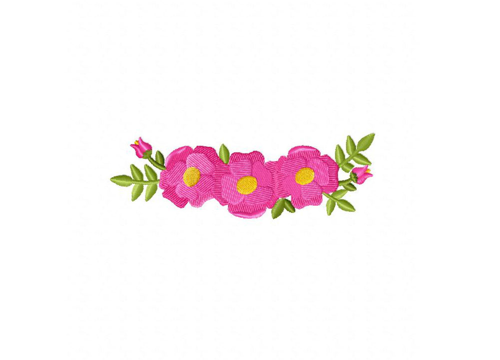 Pink Flower Crowns Machine Embroidery Design – Daily ...
