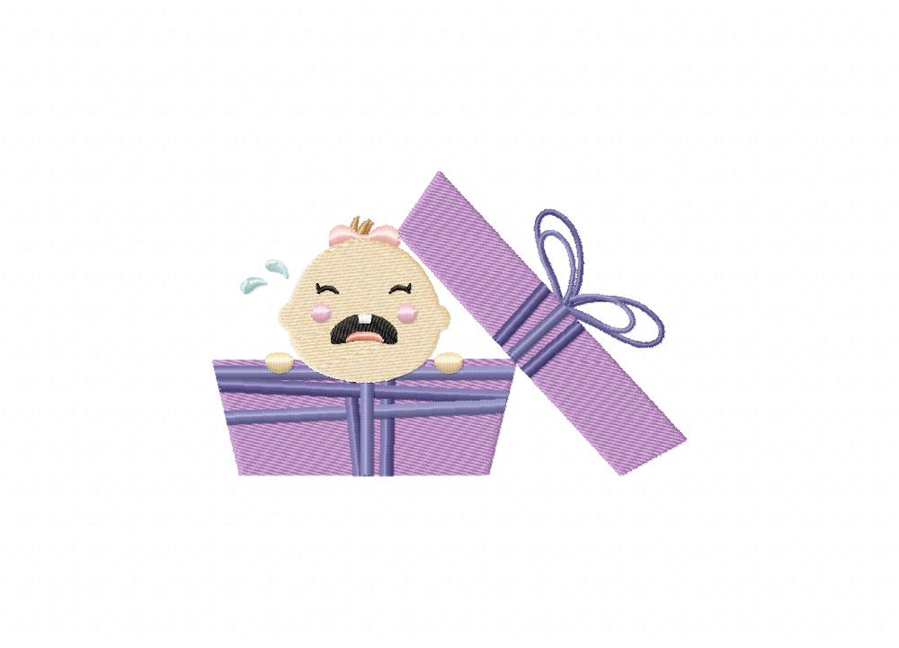 Purple baby girl gift machine embroidery design daily