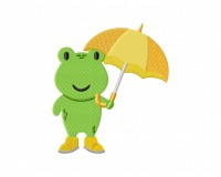 Rainy Day Umbrella Frog Stitched 5_5