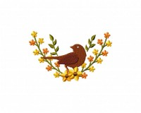 Sepia Autumn Bird Wreath 5_5 inch