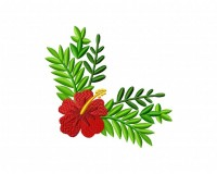 Hawaiian Red Flower Corner 5_5 in
