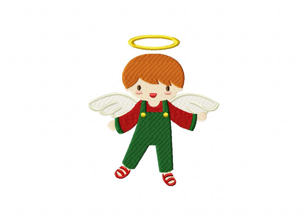 Christmas boy angel machine embroidery design daily