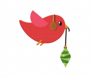 Christmas Ornament Bird Stitched 5_5
