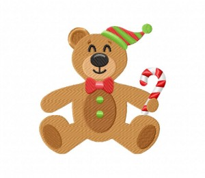 Holiday Teddy Bear Candy Cane Stitched 5_5