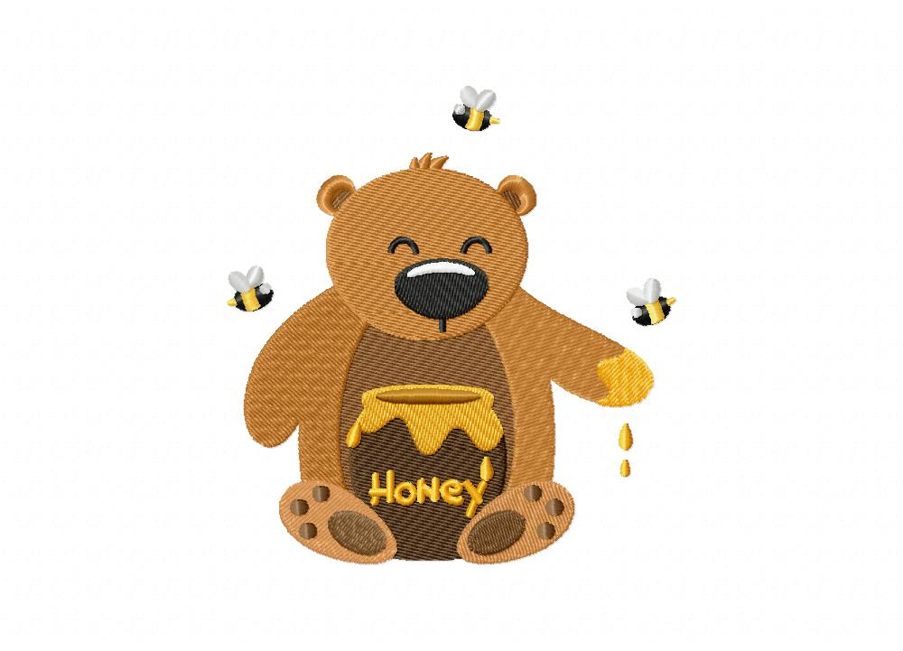 Honey bear yum includes both applique and stitched daily embroidery