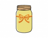 Orange Ribbon Colored Mason Jar 5_5 inch