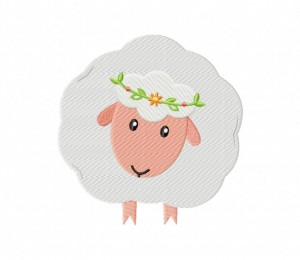 Cute White Sheep Stitched 5_5 inch