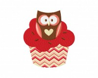 Heart Owl Cupcake 5_5 in