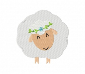 White Smiling Sheep Stitched 5_5 inch