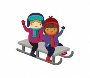 Girls On Sled 5_5 inch