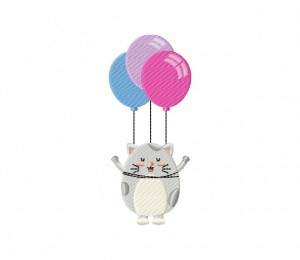 Chubby Grey Cat With Balloon (Z)-5_5