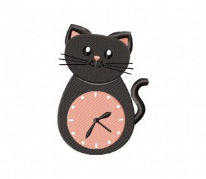 Clock Kitty Stitched 5_5