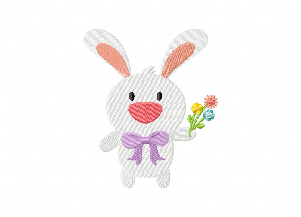 Easter bunny flowers machine embroidery design daily