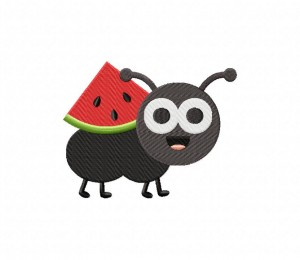 Cute Little Ant With Melon Stitched 5