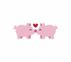 Kissing Pigs Stitched  5_5 inch