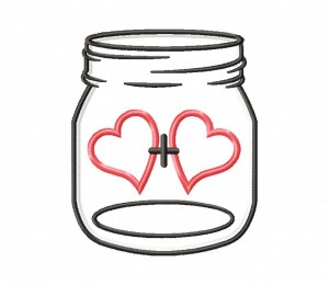 Mason Jar Love Plus Applique 5x7