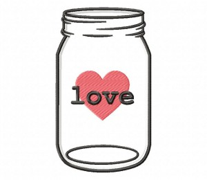 Mason Jar Love Tag Applique 5x7