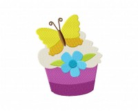 Purple Butterfly Cupcake  5_5 inch