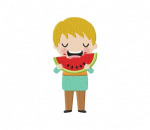 Boy Eating Watermelon 5_5 inch