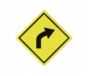 Road Sign Curve Right 5_5 inch