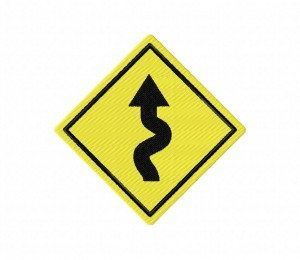 Road Sign Multiple Curve Left 5_5 inch