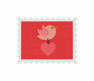 Stamp Bird and Heart 5_5 inch