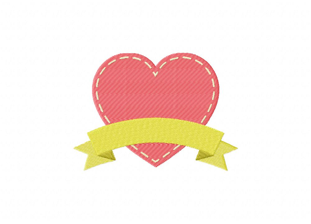 Vintage Heart Labels And Yellow Ribbons 5_5 inch