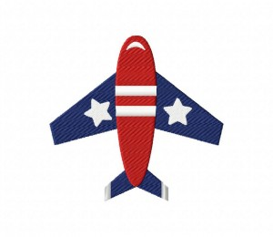 4th of July Plane Stitched 5_5 inch
