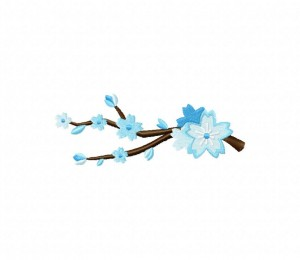 Blue Cherry Blossoms Branch Stitched 5_5 Inch