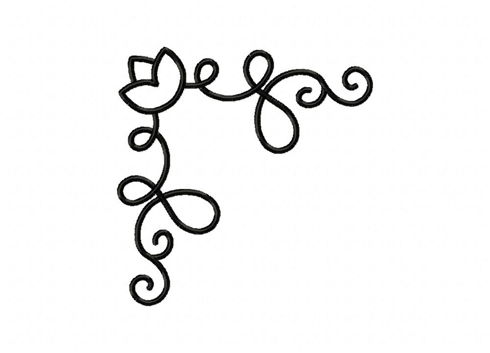 floral swirly corner machine embroidery design  u2013 daily