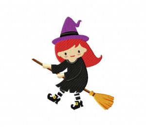Red Haired Witch on Broom5_5 inch