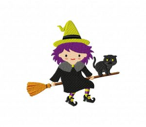 Witch and Cat on Broom 5_5 inch