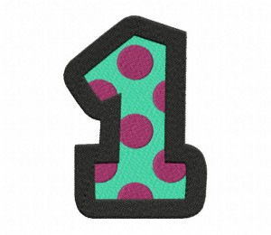 Cartoony Number 1 Stitched 5_5 Inch