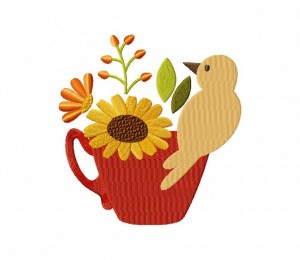 Autumn Bird in Teacup 1 5_5 inch