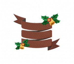 Christmas Banner Brown Stitched 5_5 Inch