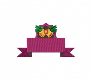 Christmas Purple Banner  Stitched 5_5 Inch