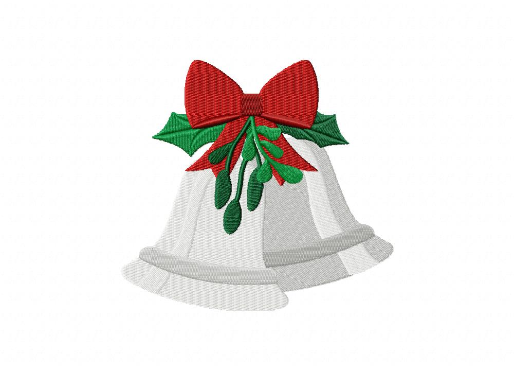 Christmas silver bells machine embroidery design daily