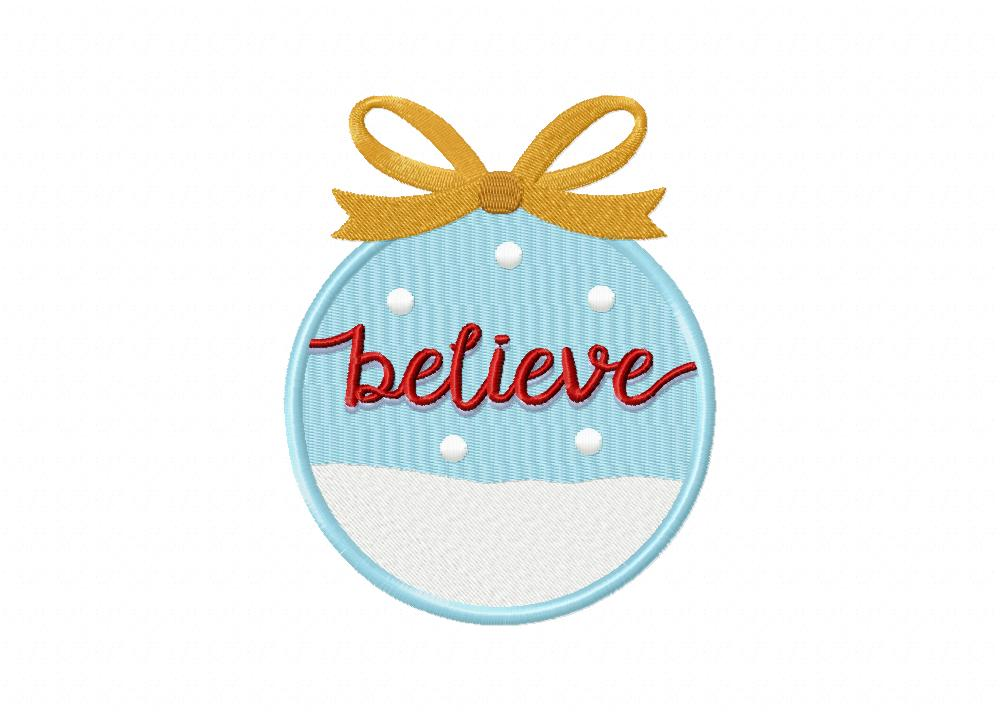 Christmas word ornament believe machine embroidery design