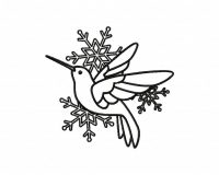 Hummingbird Fly Snowflake Outline 5_5 inch
