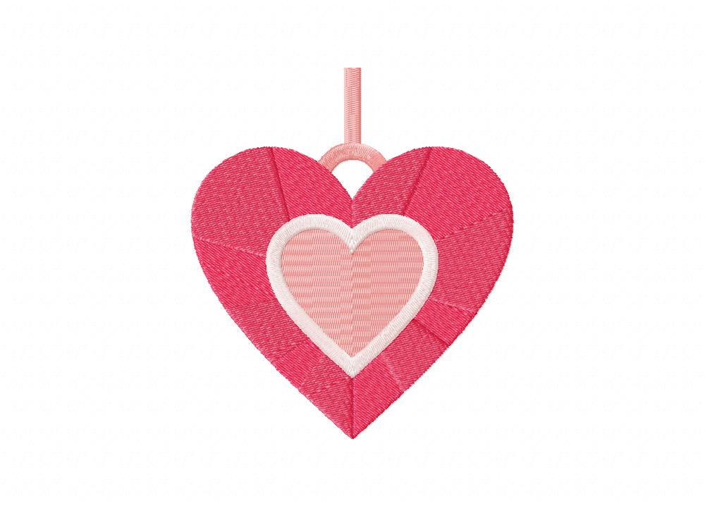 Pink Romantic Heart Stitched 5_5 Inch